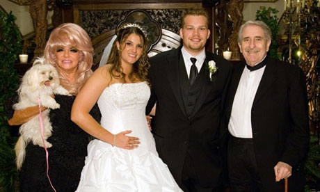 Brittany Koper with her grandparents Janice Crouch (far left) and Paul Crouch Sr (far right) at her wedding. Photograph: AP