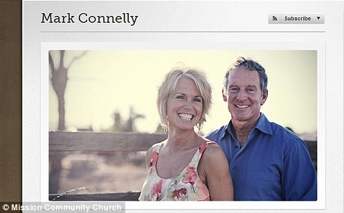 Mark Connelly resigned as lead pastor of Mission Community Church on December 30, but this photo of him together with his wife Kay remains on the church's website  Read more: http://www.dailymail.co.uk/news/article-2535570/Married-mega-church-lead-pastor-forced-resign-confessing-multiple-affairs-women-congregation