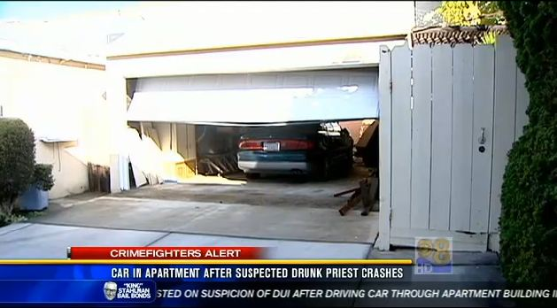 DUI Priest drove through the back wall of a home's garage